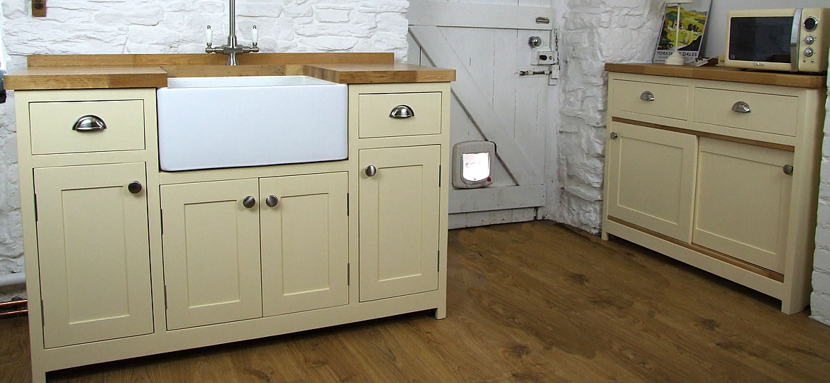 Freestanding Belfast Sink Unit and Freestanding Sliding Door Kitchen Base Cupboard