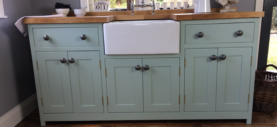 Freestanding butler sink cupboard with oak worktop