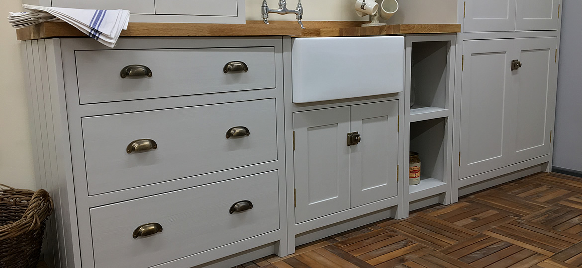 bespoke painted shaker kitchen base cupboards in little greene french grey