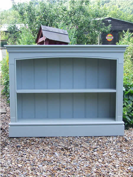 Freestanding bookcase finished in Farrow & Ball 'Blue Gray'
