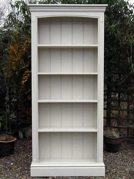 Freestanding bookcase hand painted in light gray eggshell