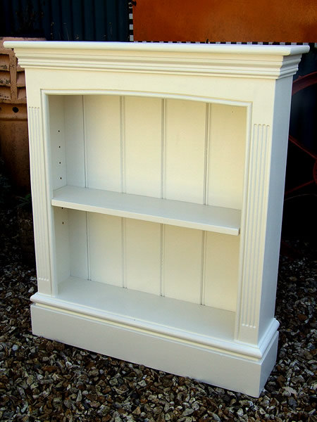 Freestanding bookcase finished in Farrow & Ball 'Wevet'
