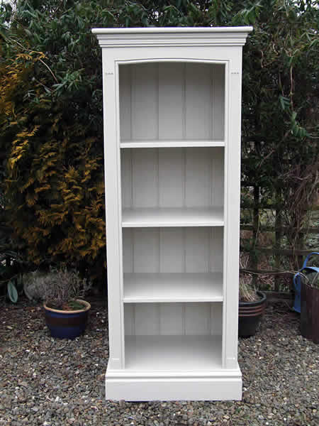 Freestanding bookcase hand painted in gray eggshell