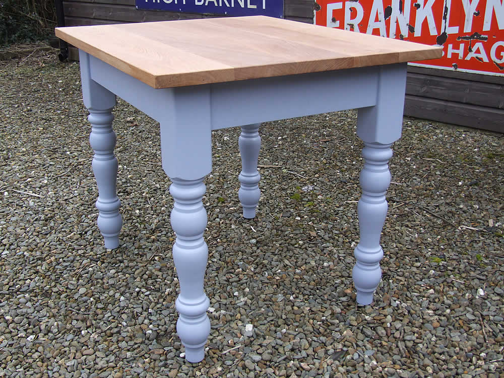 Small Farmhouse Dining Table In Dulux Moonwaves With An Oiled Oak Top