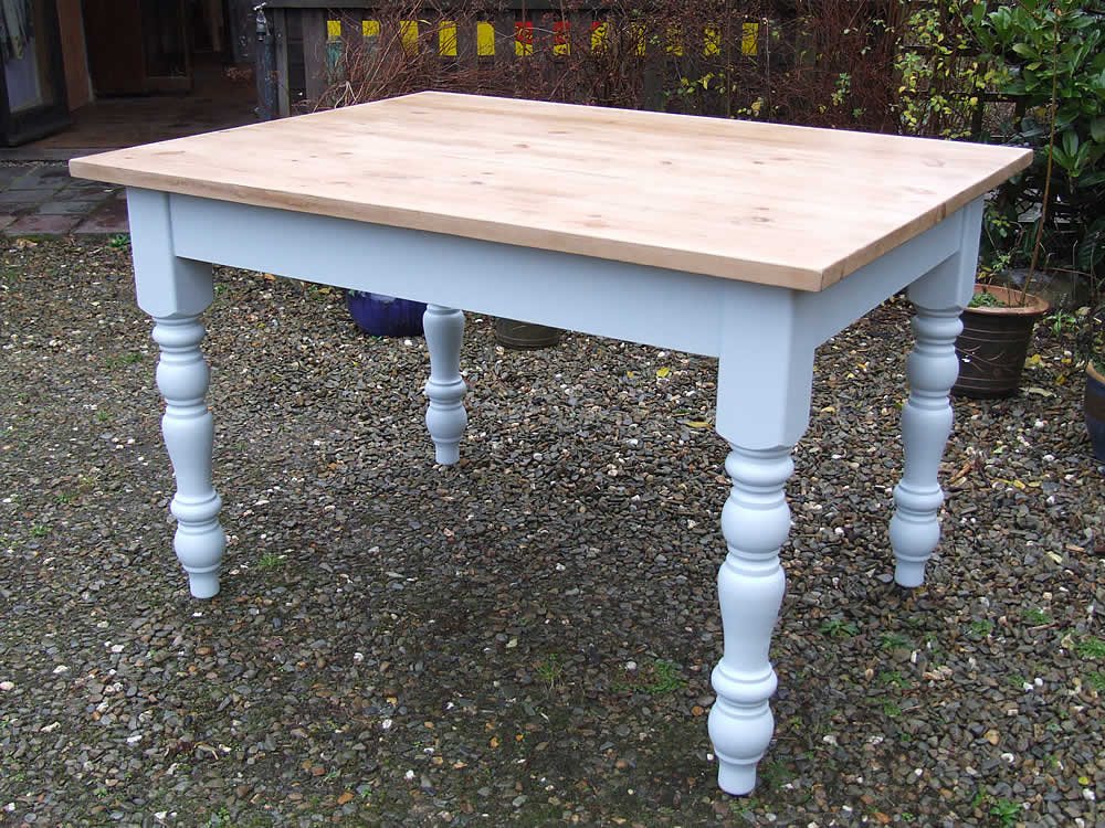 Farmhouse Dining Table In Farrow Ball Parma Gray With An Antiqued Pine Waxed Top