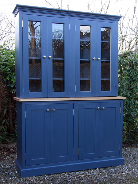 Shaker Larder Dresser with Glazed Door Full Height Cupboard Top Section