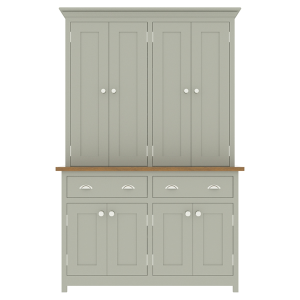 large kitchen dresser with panelled door top cupboard - 1300mm wide