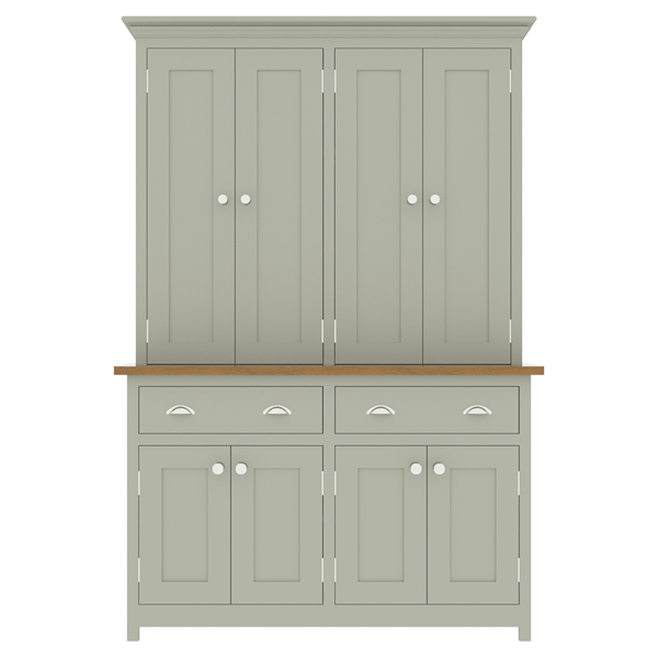 large kitchen dresser with panelled door top cupboard - 1350mm wide