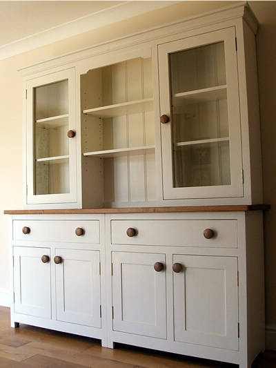 Large Shaker Kitchen Dresser with Oak Workop & Glazed Top Cupboards