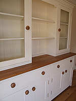 Large Shaker kitchen dresser with full height glazed door top & oiled oak worktop