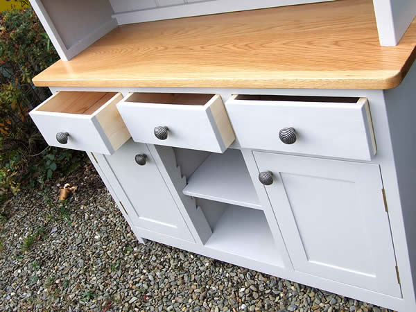 Medium Shaker kitchen dresser - open drawer close-up