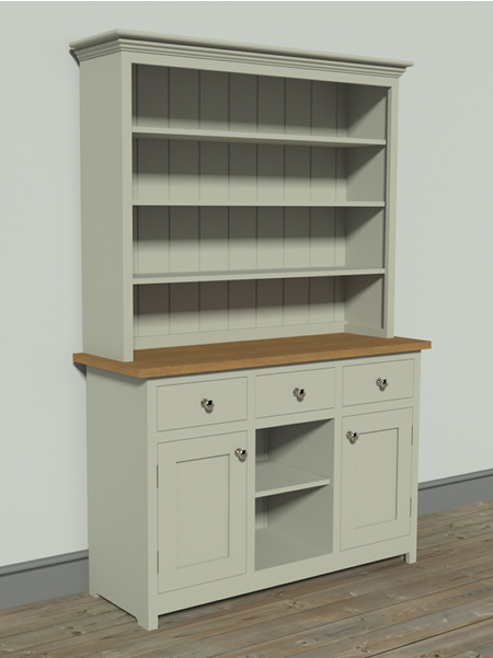 Shaker Kitchen Larder Dresser with Open Shelf Top Section