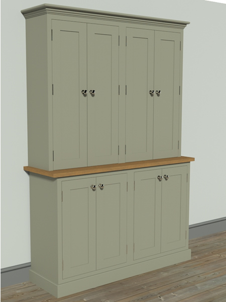 Shaker Larder Dresser with Solid Door Full Height Cupbaord Top Section