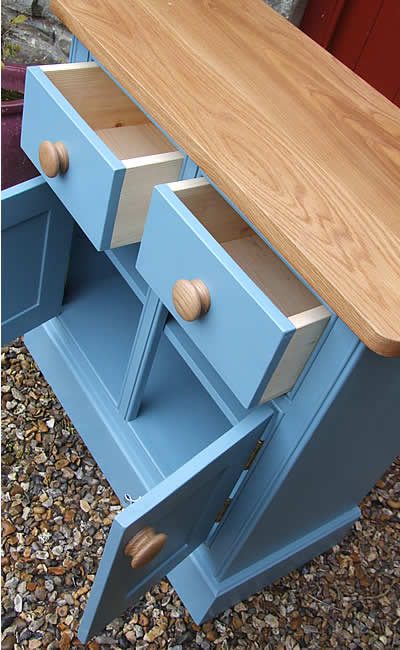 Small kitchen dresser base fitted with an oiled oak worktop & painted in Farrow & Ball Stone Blue