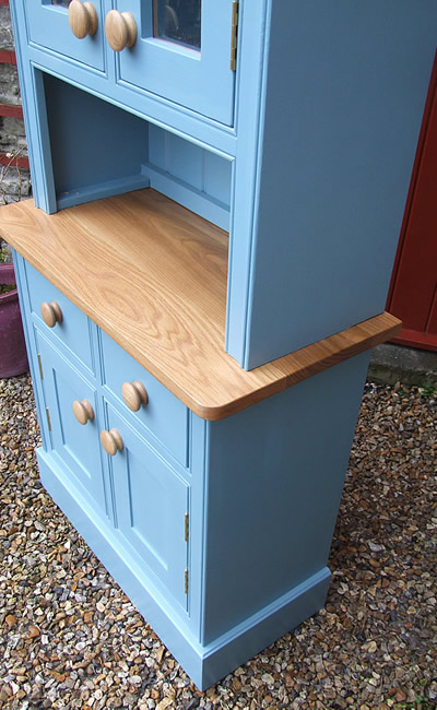 Small kitchen dresser fitted with an oiled oak worktop