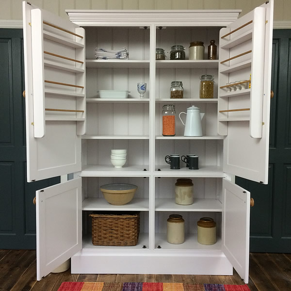 Freestanding Larder Cupboard Open View Showing Adjsuable Shelf Storage