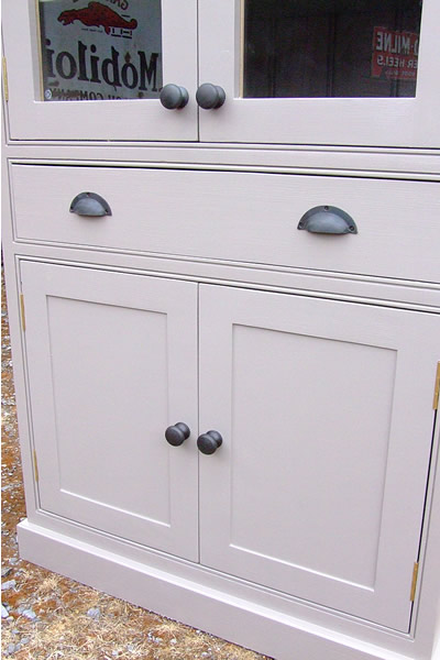 Freestanding larder cupboard with a full width hand-dovetail jointed drawer