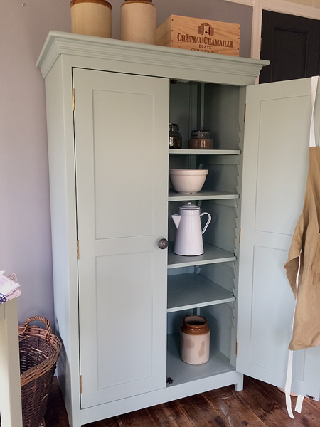Low freestanding larder cupboard hand-painted in any colour