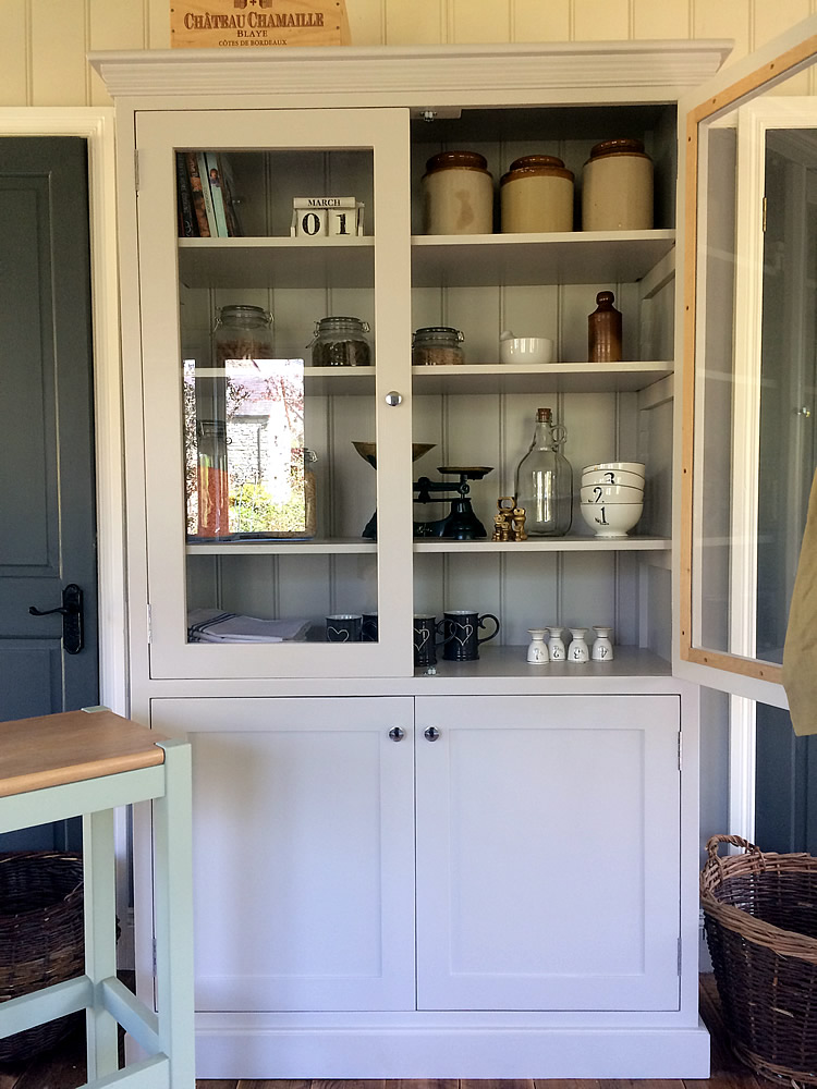Freestanding Larder Cupboard With, Glass Kitchen Cupboard Doors Uk