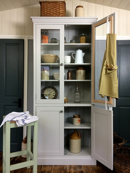freestanding kitchen larder with glass doors