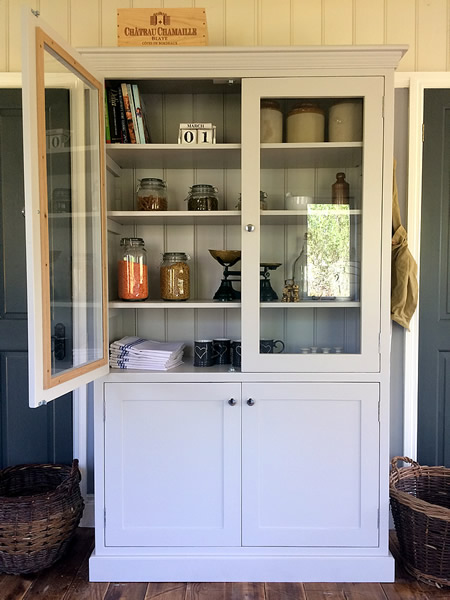 Freestanding larder pantry cupboard with glass top doors