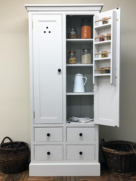 freestanding kitchen larder cupboard with 4 drawers