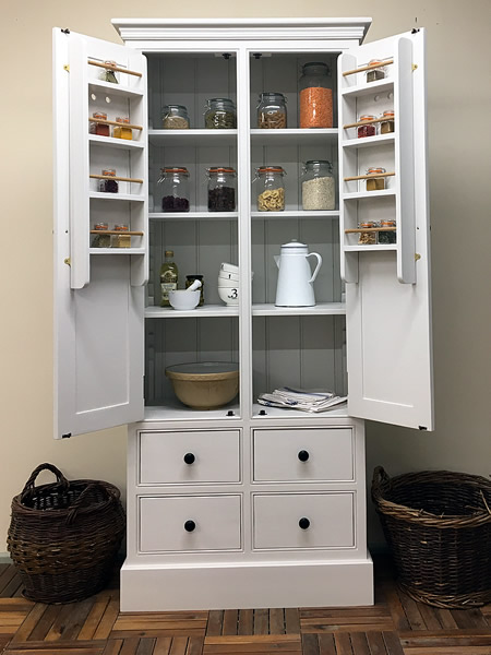Freestanding larder cupboard with internal spice racks