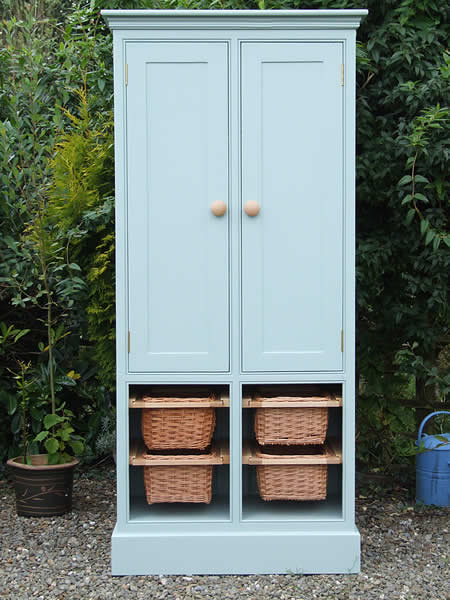Freestanding larder in Farrow & Ball Blue Green with storage cupboard & four pull-out wicker baskets