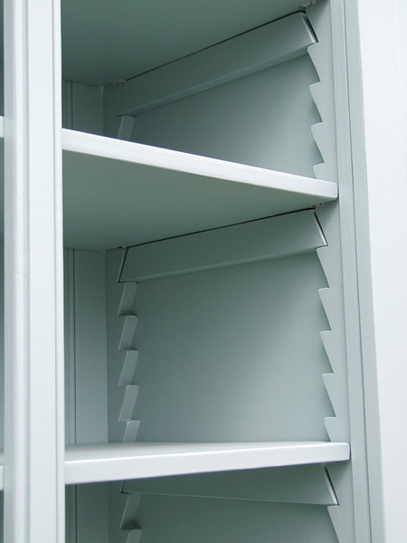 Freestanding larder in Farrow & Ball Blue Green internal view of shelf supports