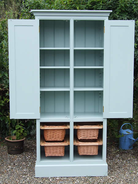 Freestanding larder in Farrow & Ball Blue Green with fully adjustable internal shelves
