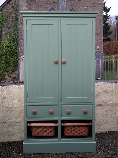 Freestanding Larder Cupboard with 2 Wicker Baskets & 2 Wooden Drawers