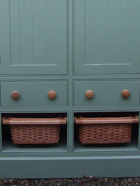 Freestanding Larder Cupboard Baskets & Wooden Drawer Closeup View