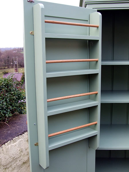 Freestanding Larder Cupboard Spice Racks Fitted to Inside of Doors