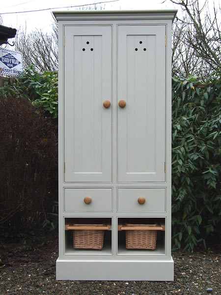 Freestanding Larder Cupboard Baskets & Wooden Drawers in Farrow & Ball Bone - Front View