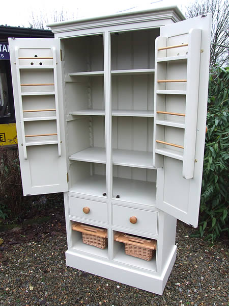 Freestanding Larder Cupboard Baskets & Wooden Drawers in Farrow & Ball Bone - Open Front View