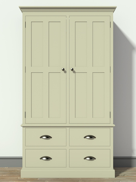 Freestanding Larder Cupboard with 4 Drawers & Solid Panelled Door Top Section