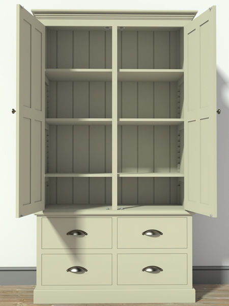 Freestanding Larder Cupboard with 4 Drawers & fully adjustable shelves