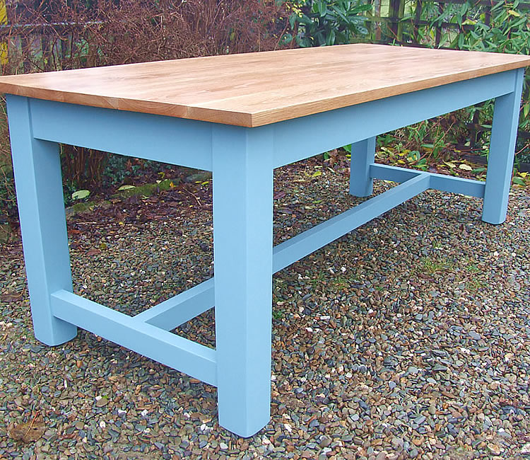 Farmhouse Refectory Dining Table with Oiled Oak Top, Painted Legs & Stretcher Rails