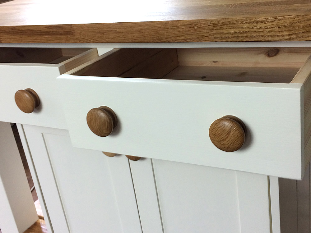 Freestanding Kitchen Island fitted with hand-dovetailed deep drawers