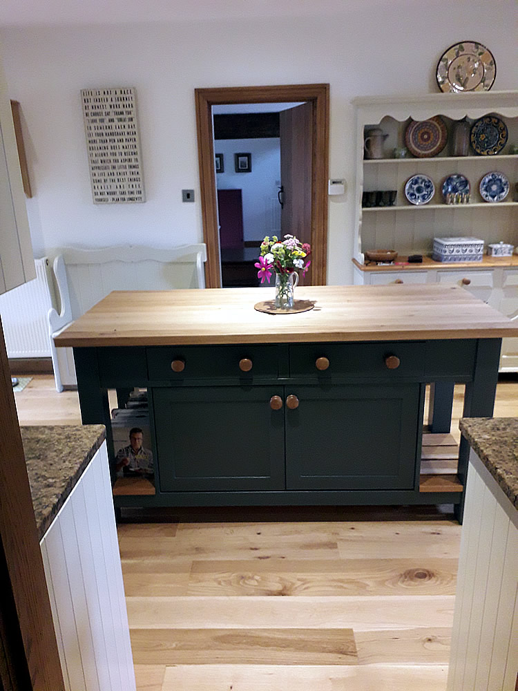 Freestanding Kitchen Island with Double Cupboard & Breakfast Bar
