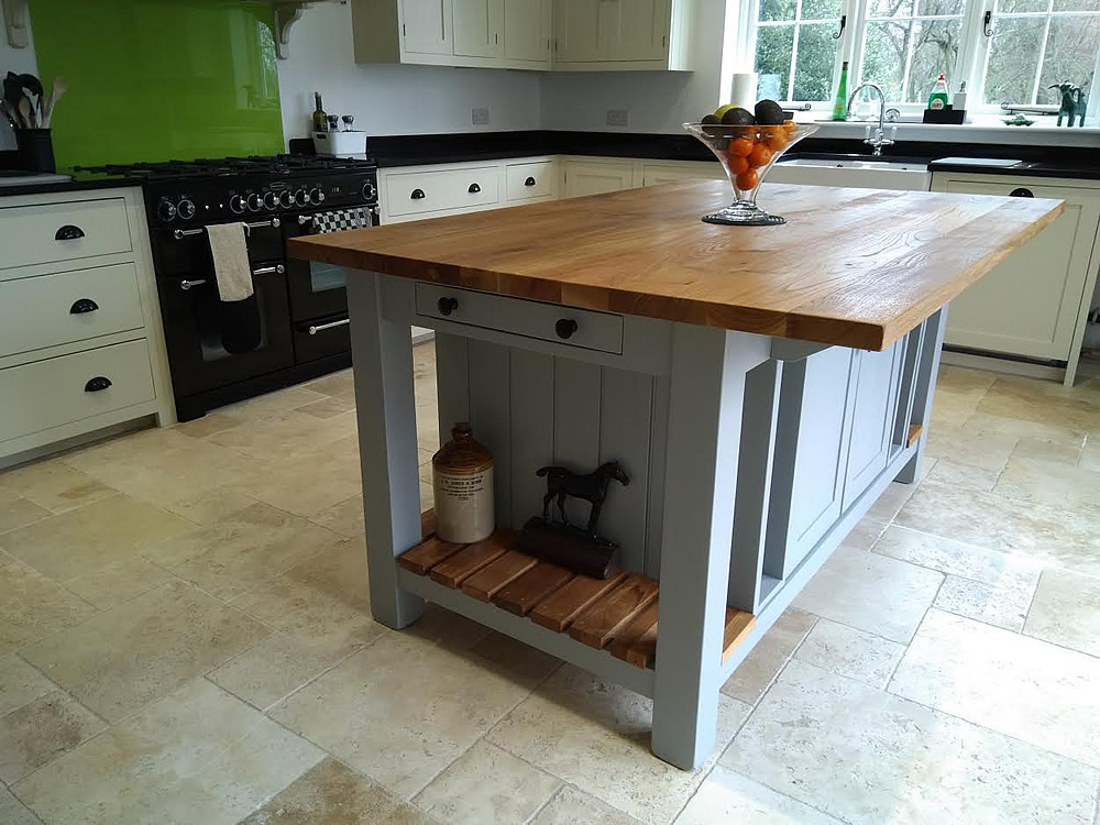 Freestanding Kitchen Island with Oak Worktop Brakfast Bar in Farrow & Ball 'Manor House Gray'
