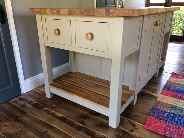 Freestanding kitchen island with oak worktop & slatted shelves
