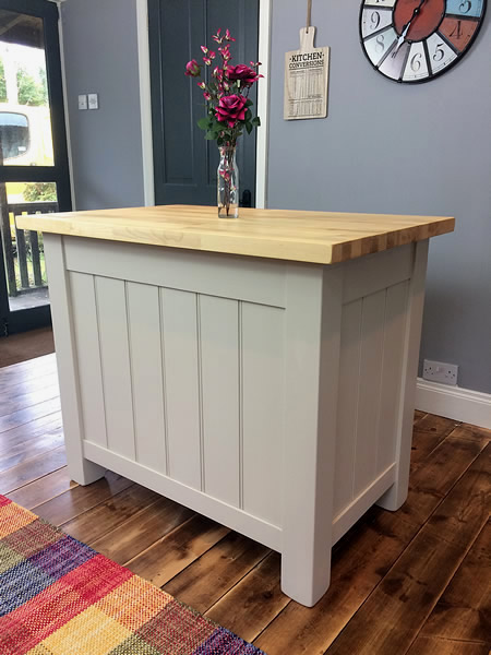 Freestanding kitchen island with tongued & grooved end & back panels