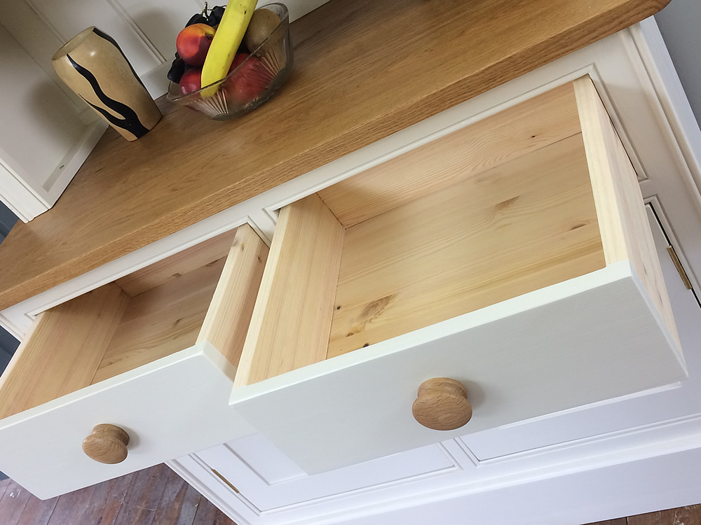 Small kitchen dresser fitted with hand-dovetailed, solid wood drawers