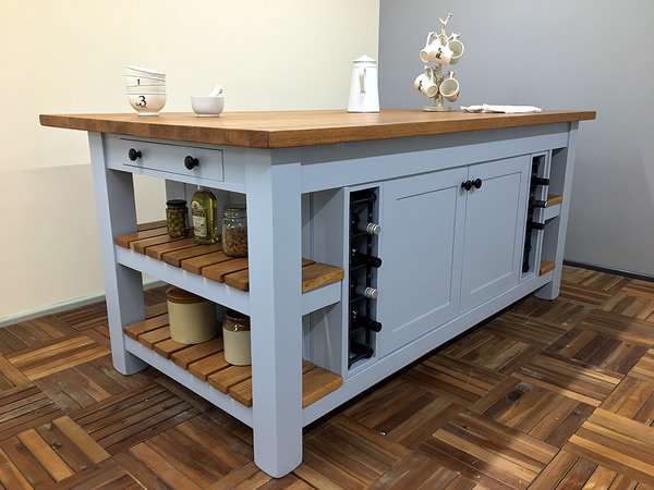 Large freestanding kitchen island with double back-to-back storage cupboards