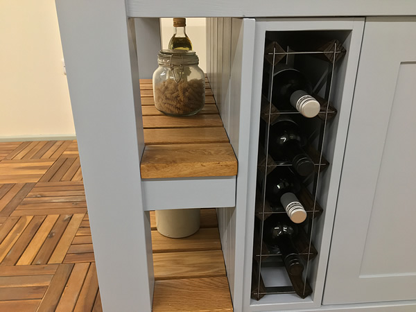 Large freestanding kitchen island with double 5 bottle wine rack storage built in