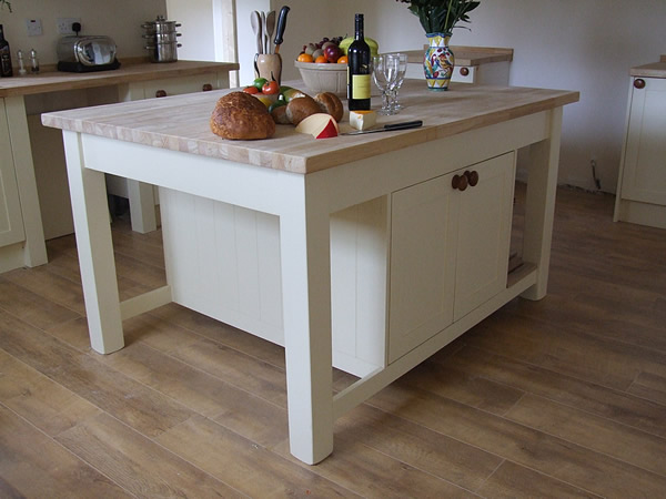 Large Freestanding Kitchen Island With Double Cupboards