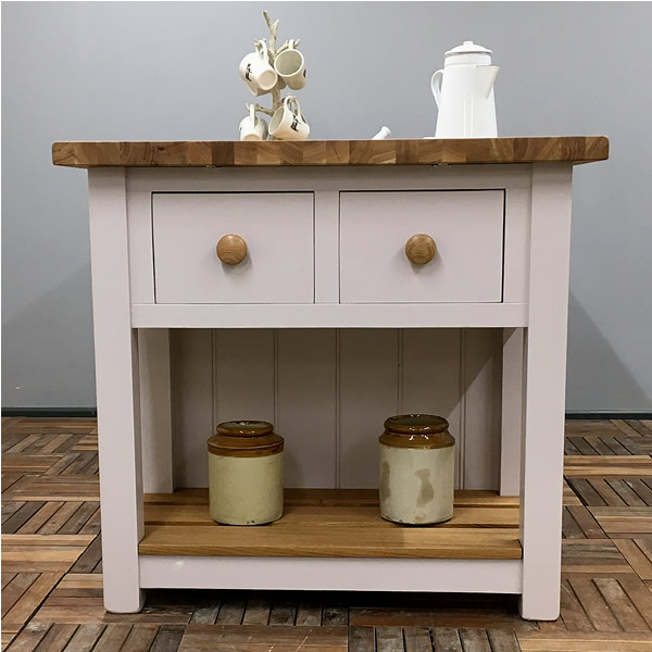 Freestanding Kitchen Island with Double Deep Dovetailed Drawers at Both Ends