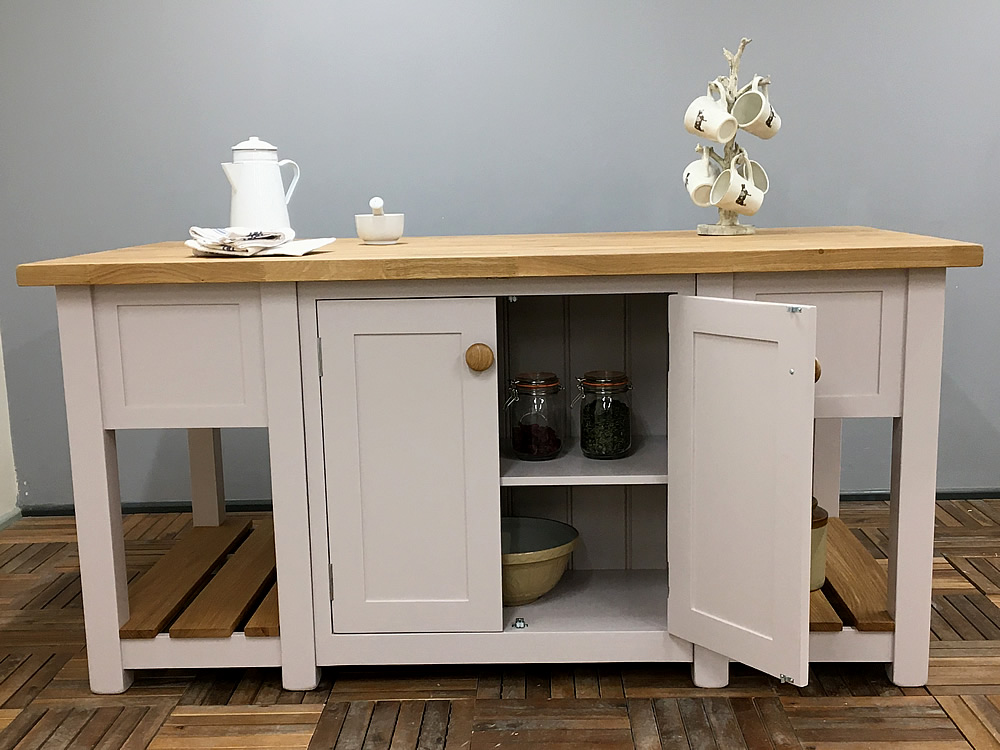 save off df45e 54549 Freestanding Kitchen Island with Double Cupboards & Deep Drawers