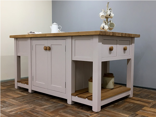 Freestanding Kitchen Island With Double Cupboards & Deep